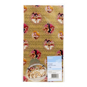 Tesco Disney Princess Gift Wrapping Paper & Tag