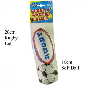 Soft Rugby & Soccer Balls - Pack Of 2