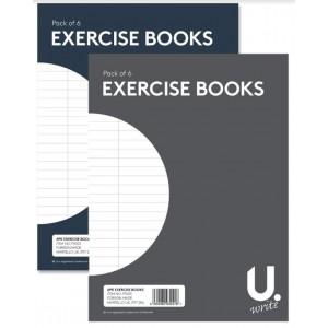 U Write Exercise Books - A5 15cm x 20cm - Assorted Colours - Pack of 6