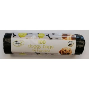 Tidyz Extra Strong Doggy Bags with Tie Handles - 34 x 30cm - Pack Of 100