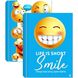 U Smile Emoji A5 Hardback Notebook - Blue/White