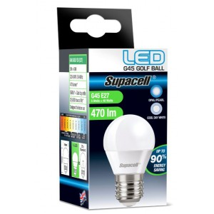 Supacell Led G45 Golf Es (E27) 5W Energy Saving Light Bulb - Screw Fitting - Cool Day White