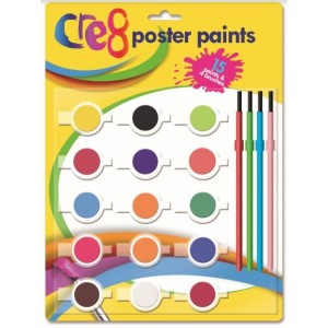 Cre8 15 Poster Paints & 4 Brushes Set