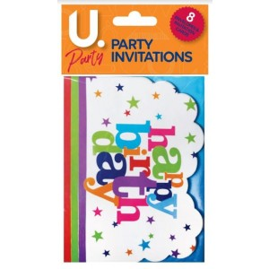 U Party - Happy Birthday Party Invitations - Pack of 8