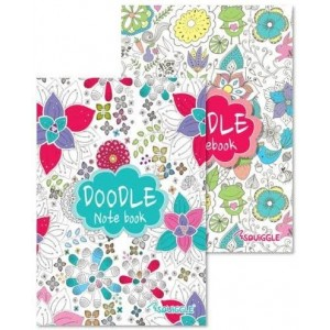 A5 Lined Doodle Notebook - 2 Assorted Colours And Designs - 48 Pages