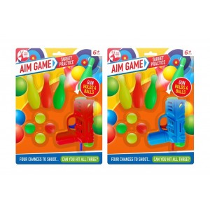 Target Practice Aim Game with Gun, Balls & Bowling Pins by Red Deer Toys