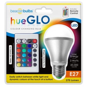 Colour Changing LED Bulb E27 3W Dimmable RGBW Light Bulb with Remote