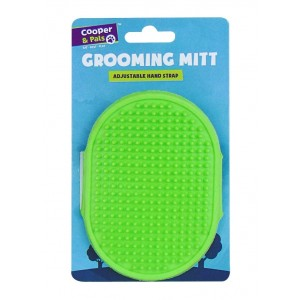 Cooper & Pals Pet Grooming Mitt with Adjustable Hand Strap - Green - 12.5 x 9.5cm