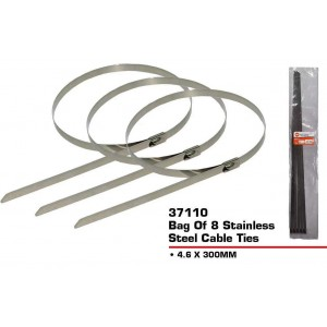 Stainless Steel Cable Ties - 300mm x 4.6mm - Pack of 8