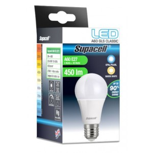 Supacell Led A60 Gls Es (E27) Base 5W Energy Saving Light Bulb - Screw Fitting - Warm White