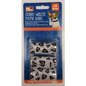 Pet Touch Printed Doggy Waste Refill Bags - Pack of 60