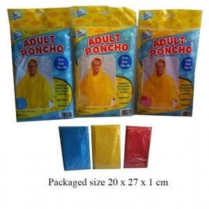Fun Zone Waterproof & Reusable Adult Hooded Poncho - One Size - Assorted Colours