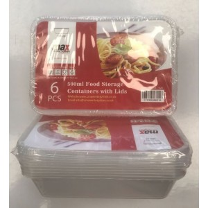 Max Disposable Food Storage Containers with Lids - 500ml - 17.5 x 11.5 x 4cm - Pack of 6