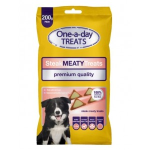 One-A-Day Premium Quality Steak Meaty Treats for Small-Medium Dogs - 200g - Exp: 06/2022
