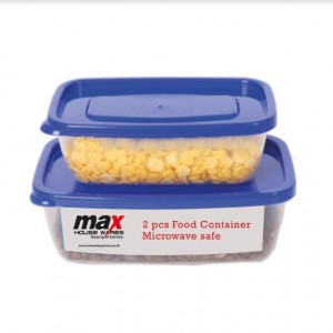 Max Microwave Safe Plastic Container - Colours May Vary - Assorted Sizes - Pack of 2