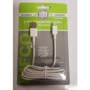 8 Pin USB Charging Cable - 2 Metre Cable - For Iphone 5/6/7/8/10/X