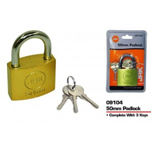 JAK Brass Padlock with 3 Keys - 50mm