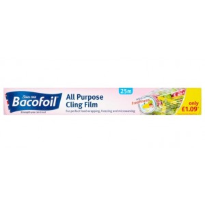 Bacofoil All Purpose Cling Film - 25m x 30cm - Price Marked £1.09