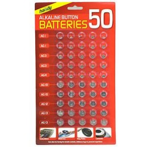 Alkaline Button Batteries - Pack of 50