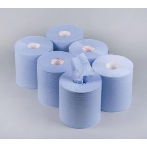 Active Multi Purpose Kitchen Cleaning Towel Paper Centre Feed Tissue Rolls - Blue - 60 Metres - 2 Ply - Extra Strong/Absorbent