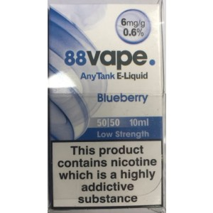 88 Vape Any Tank E Liquid - Blueberry - 50/50 Pg/Vg - 6Mg - 10Ml