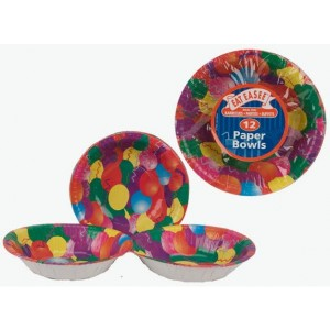 Disposable Party Paper Bowls - 17cm - Pack Of 12