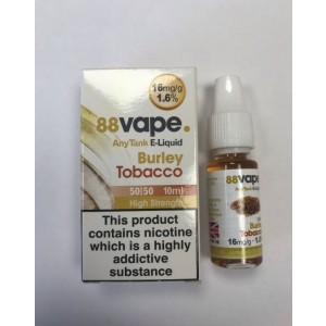 88 Vape Any Tank E Liquid - Burley Tobacco - 50/50 Pg/Vg - 16Mg - 10Ml
