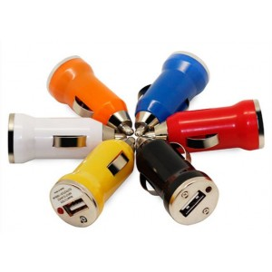 Bullet Usb Car Charger - Mixed Colours - Colours Vary - Without Packing