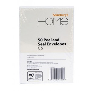 Sainsbury's Home C6 Peel and Seal Envelopes - Pack of 50 - 114 x 162mm