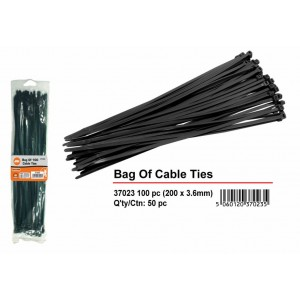 Black Cable Ties -  200mm x 3mm - Pack of 100