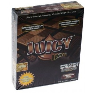 Juicy Jays Double Dutch Chocolate Flavoured Cigarette Rolling Paper King Size Slim  - Pack Of 24 - 32 Leaves Per Pack
