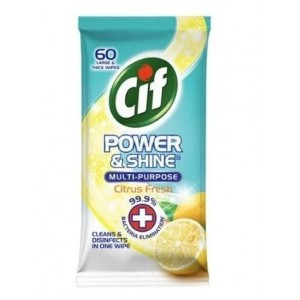 Cif Power & Shine Multi-Purpose Large & thick Wipes - Citrus Fresh - Pack of 60 - Exp: 07/23