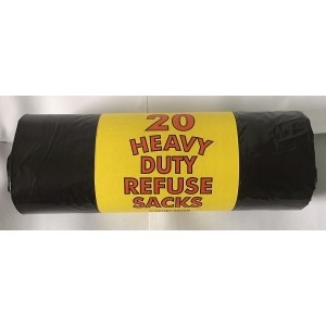 Quality Strong Heavy Duty Refuse Sacks - Black Bin Bags - Roll Of 20 - 18 X 29 X 34 Inches