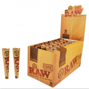 CLASSIC RAW CONE NATURAL UNREFINED ROLLING PAPERS - 3 PACK - KINGSIZE - NATURAL HEMP GUM - 96 CONES PER BOX