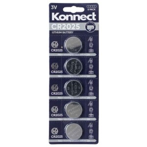 Konnect CR2025 Lithium Button Battery - 3V - Pack of 5