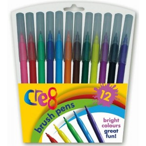 Cre8 Quality Fibre Brush Tipped Colouring Marker Pens - Pack Of 12