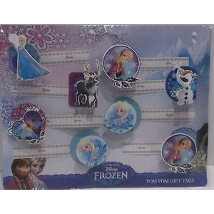 Disney Frozen Pom Pom Gift Tags With Self Adhesive Sticky Tabs - Pack Of 8 - Price Marked £1.99