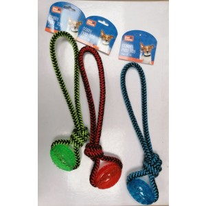 Pet Touch Doggy Play Rope with TPR Toy for Dogs - 38 x 11cm - Assorted Colours