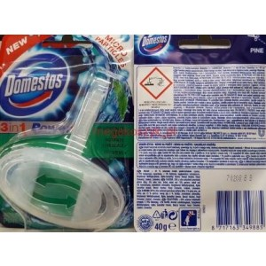 New Domestos 3 In 1 Power Toilet Rim With Micro Particles - Pine - 40G