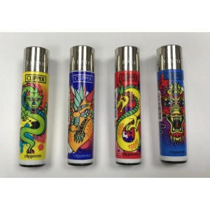 Clipper Classic Large Reusable Lighters - Dragons - Assorted Colours & Designs