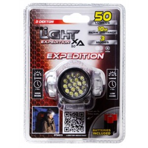 Dekton Pro-Light XA50 Expedition High Intensity LED Head Torch with Batteries - 50 Lumens