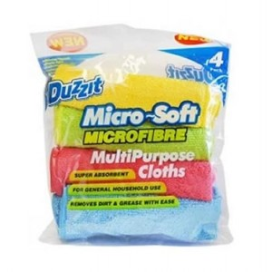 151 Duzzit Micro-Soft Microfibre Multi-Purpose Clothes for General Household Use - 29 x 29cm - Assorted Colours - Pack of 4
