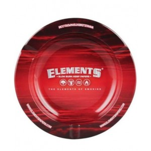 Small Elements Metal Round Ashtray - Red - 14cm