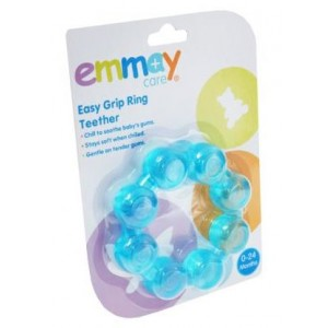 Emmay Easy Grip Ring Teether - Blue And Pink - Colours May Vary