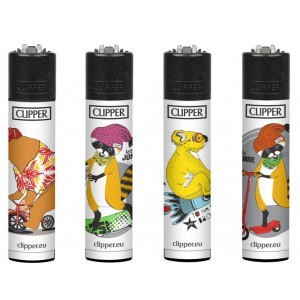Clipper Classic Large Reusable Lighters - Funny Animals 1 - Assorted Colours & Designs