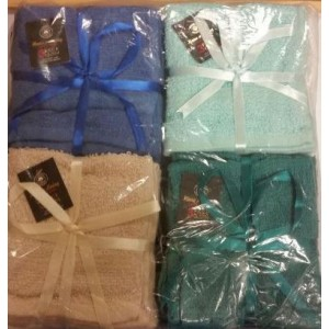 LUXURY FACE TOWEL - 100% COTTON - ASSORTED COLOURS - PACK OF 3