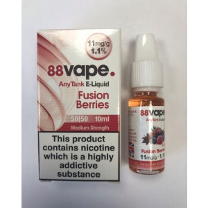 88 Vape Any Tank E Liquid - Fusion Berries - 50/50 Pg/Vg - 11Mg - 10Ml