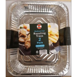 "Aluminium Medium Foil Roasting Tray - 13"" - Pack Of 2 - 32.5cm x 26.3cm x 6cm"