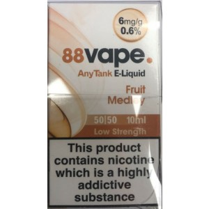 88 Vape Any Tank E Liquid - Fruit Medley - 50/50 Pg/Vg - 6Mg - 10Ml