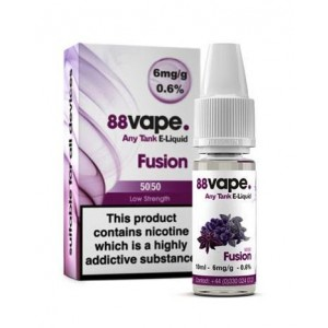 88 Vape Any Tank E Liquid - Fusion - 50/50 Pg/Vg - 6Mg - 10Ml